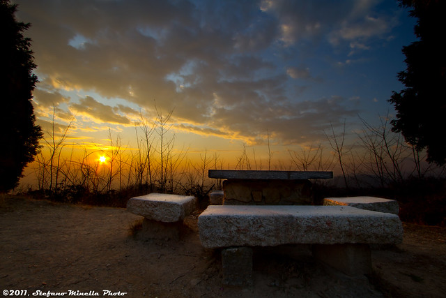 221/365 [365 Project] - Sunset with Benches and Table