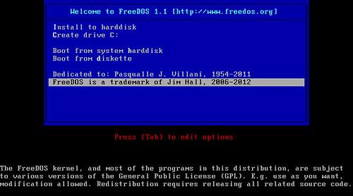 FreeDOS 1.1 képekben #1
