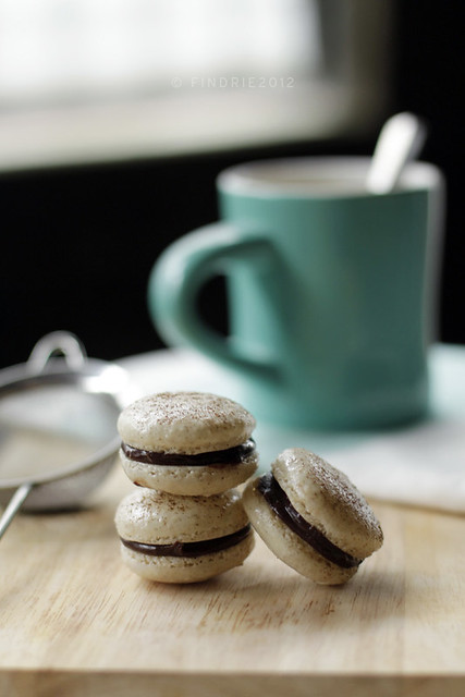 Coffee Macarons with Chocolate Rhum Ganache