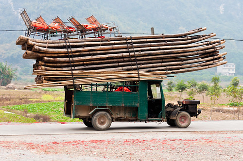 Bamboo boats on a truck