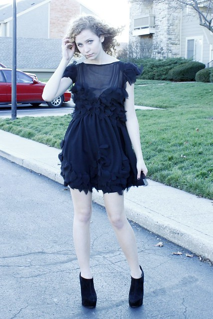 Black Chiffon Leaves Dress