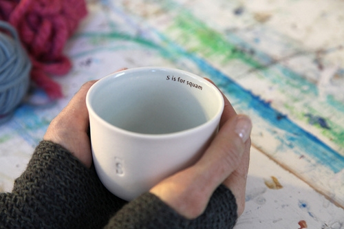 s is for squam tea cup