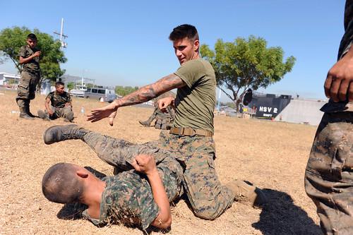 U.S. Marines train Guatemalan paratroopers.