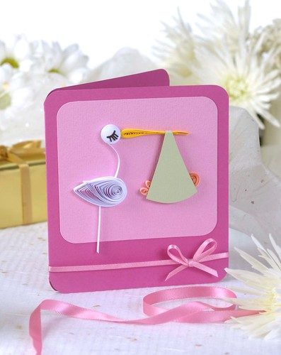 Quilled stork card