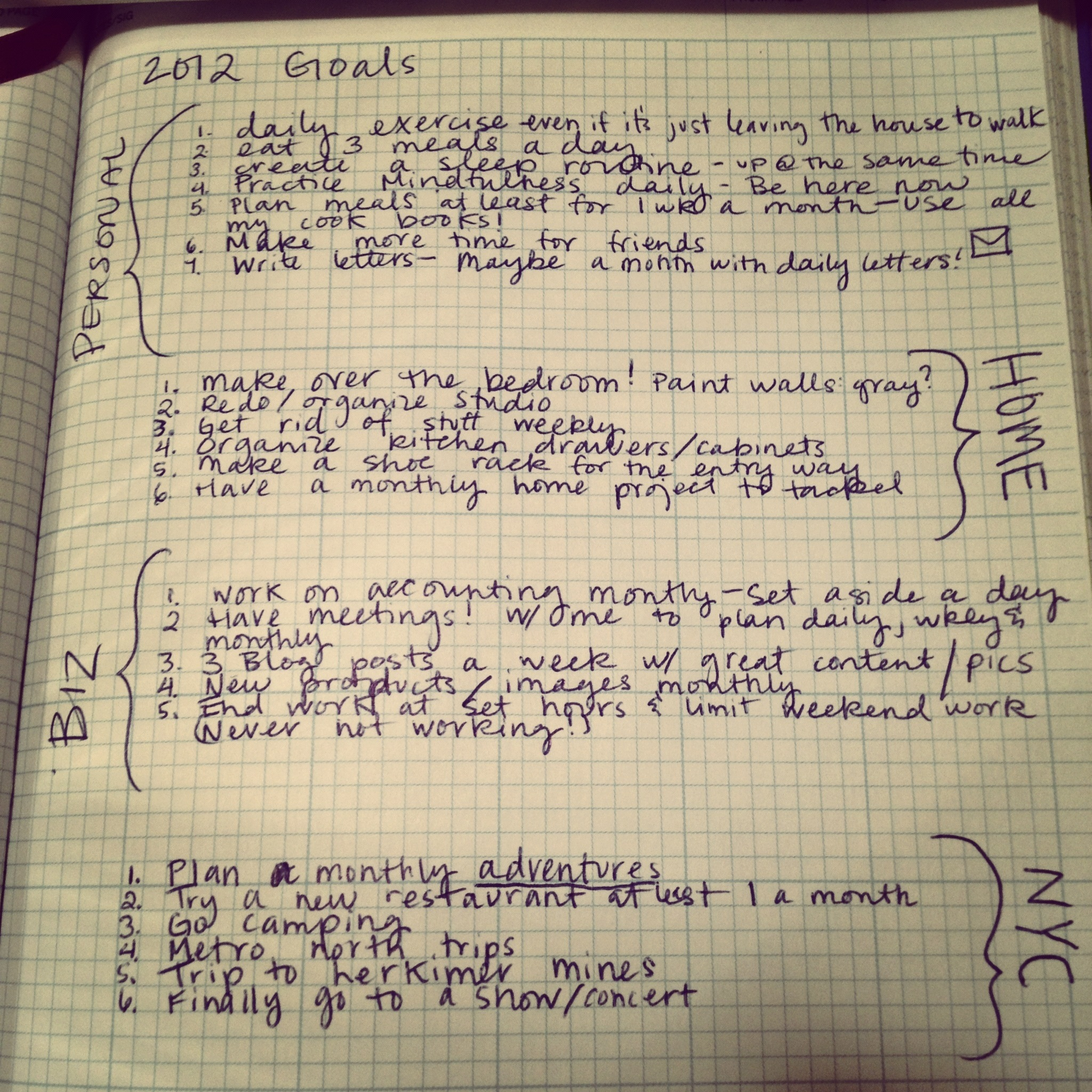 Making a goal list for 2012...
