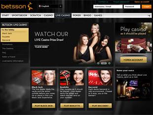 Betsson Live Casino Home