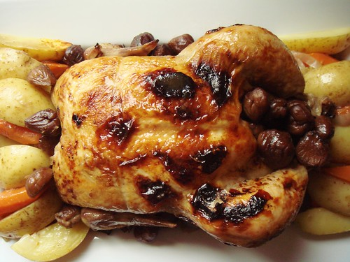 M. Jacques Cognac Chicken with Chestnuts: Burnished