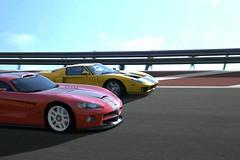 muscle car(0.0), race car(1.0), automobile(1.0), vehicle(1.0), performance car(1.0), automotive design(1.0), race track(1.0), land vehicle(1.0), srt viper(1.0), supercar(1.0), sports car(1.0),