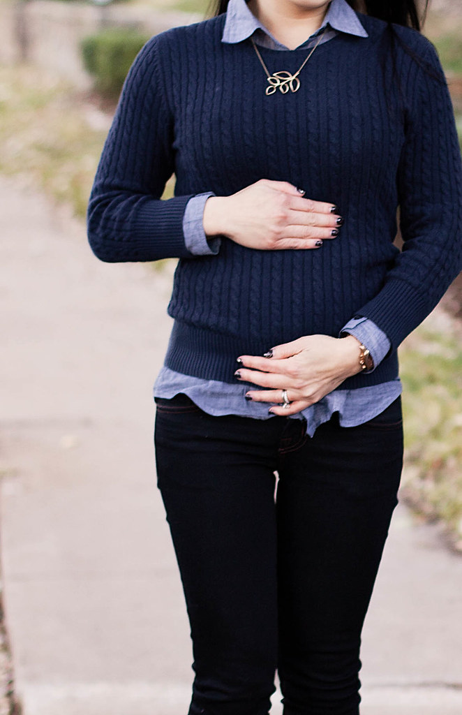 uo bdg chambray shirt, gap cable knit navy sweater, lylif olive branch  necklace,
