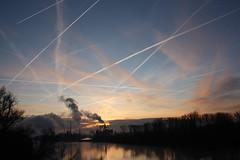 [フリー画像素材] 空, 朝焼け・夕焼け, 飛行機雲, 風景 - ドイツ ID:201201221600