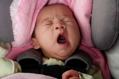 Baby Yawning in Car Seat