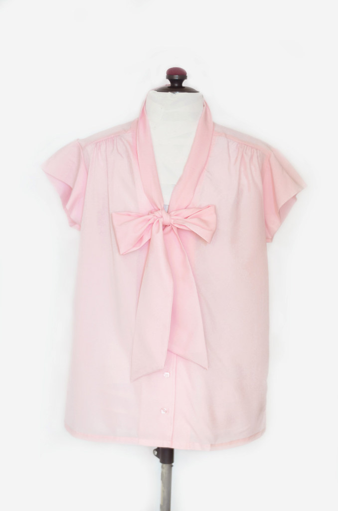 Vintage Delicate Pink Ascot Blouse
