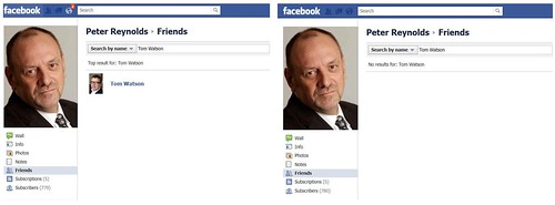 Tom Watson MP removes Peter Reynolds as a Facebook friend.
