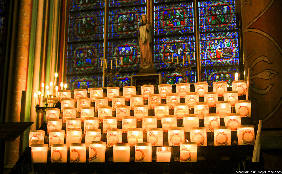 Candles in Notre-Dame de Paris