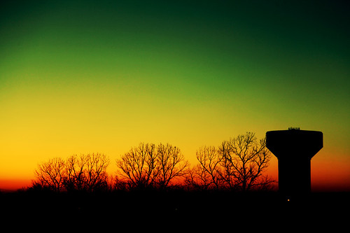 trees sunset oklahoma nature silhouette landscape watertower