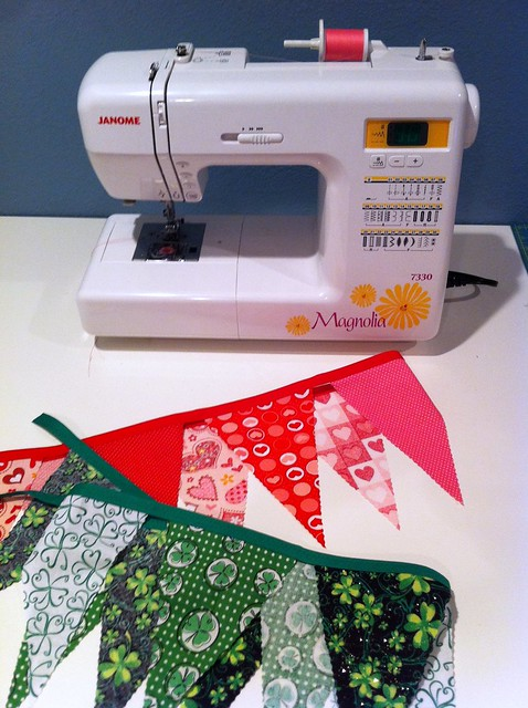 Sewing Bunting for Valentine's Day and St. Patrick's Day