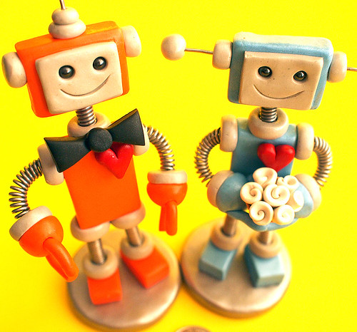 Robot Wedding Cake Topper Orange and Blue Bots by HerArtSheLoves