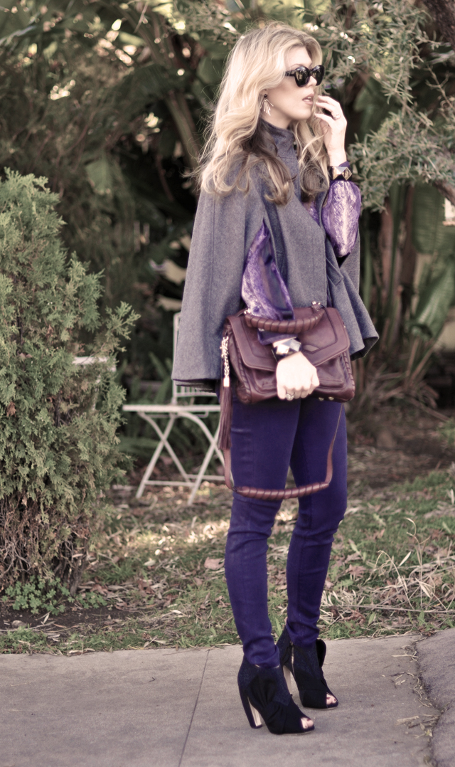 purple jeans - gray cape- miu miu shoes