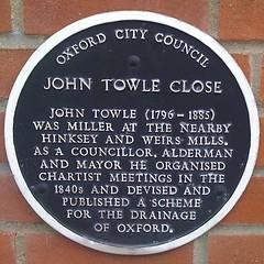 Photo of John Towle black plaque