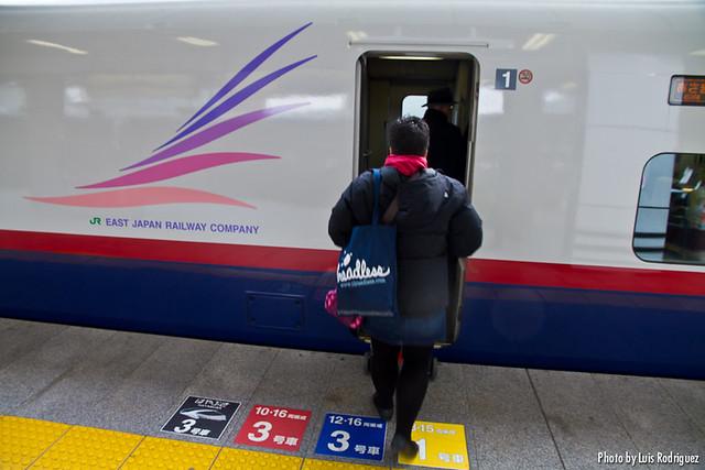 Subiendo a un E2 en la línea Nagano de shinkansen