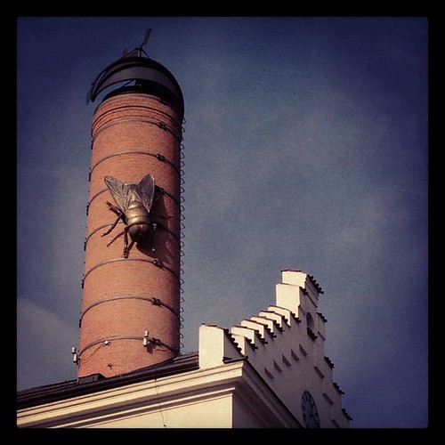 Those brewery flies do grow big! #iphone4s #iphoneonly #photooftheday #iphoneography #fly #insect #building #art #sculpture #prague #sutro by ilVerme