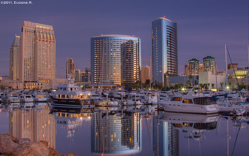 california reflection skyline marina sunrise buildings landscape downtown cityscape sandiego seaport