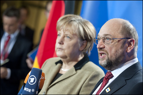 German Chancellor Angela Merkel and EP President Martin Schulz