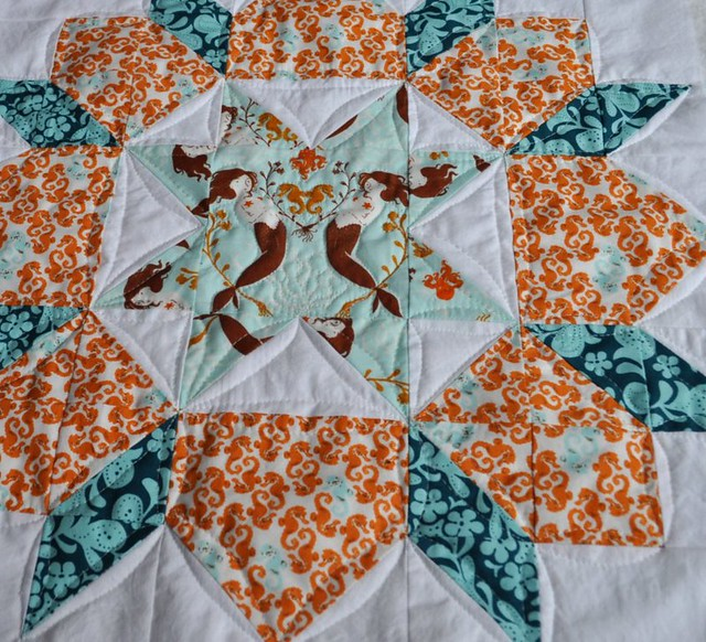 quilting on mermaid swoon pillow block