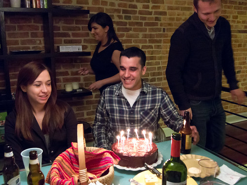 Dan gets ready to blow out his candles