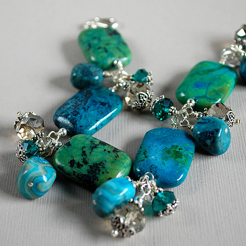 Ariel Apatite, Crazy Lace Agate, Crystal and Sterling Bracelet