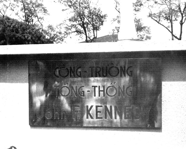 A plaque with John F. Kennedy's name on it.