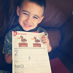 #ditl #homeschool #preschool  he's so proud :) He thinks he has to erase the page when he finishes because he's used to laminated sheets!