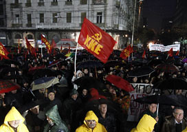 Demonstrators take part in a protest rally of the Greek Communist party against new austerity measures in Athens. The capitalist bankers have attempted to impose further economic burdens on the workers and poor of the country. by Pan-African News Wire File Photos