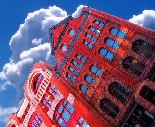 """county blue sunset red sky ny building brick st architecture clouds square anne apartments district clinton style dry goods warehouse explore hyde architect syracuse historical armory romanesque gem neal billings donohue """"new onondaga york"""" richardsonian nrhp onasill officesqueen"""