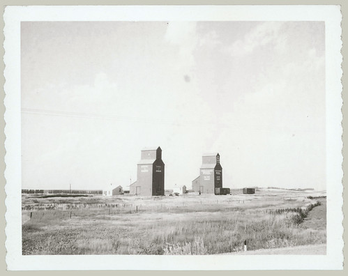 Two grain elevators