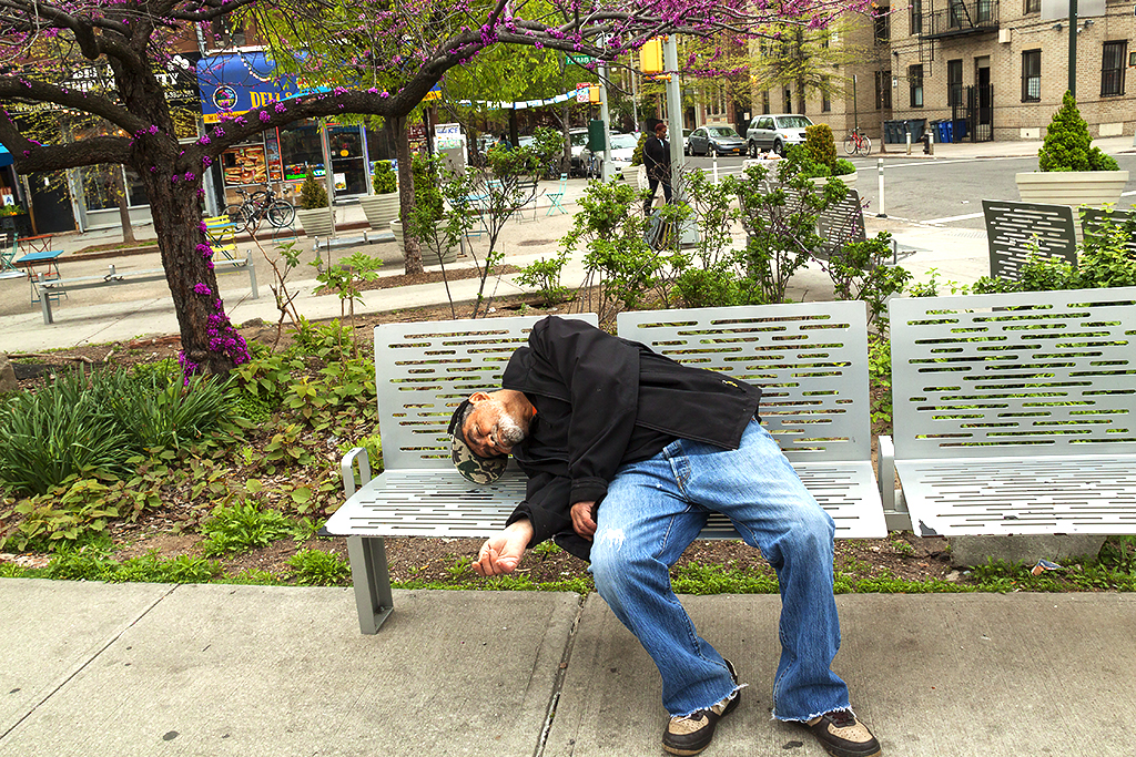 Man sleeping on bench on 4-29-16--Clinton Hill
