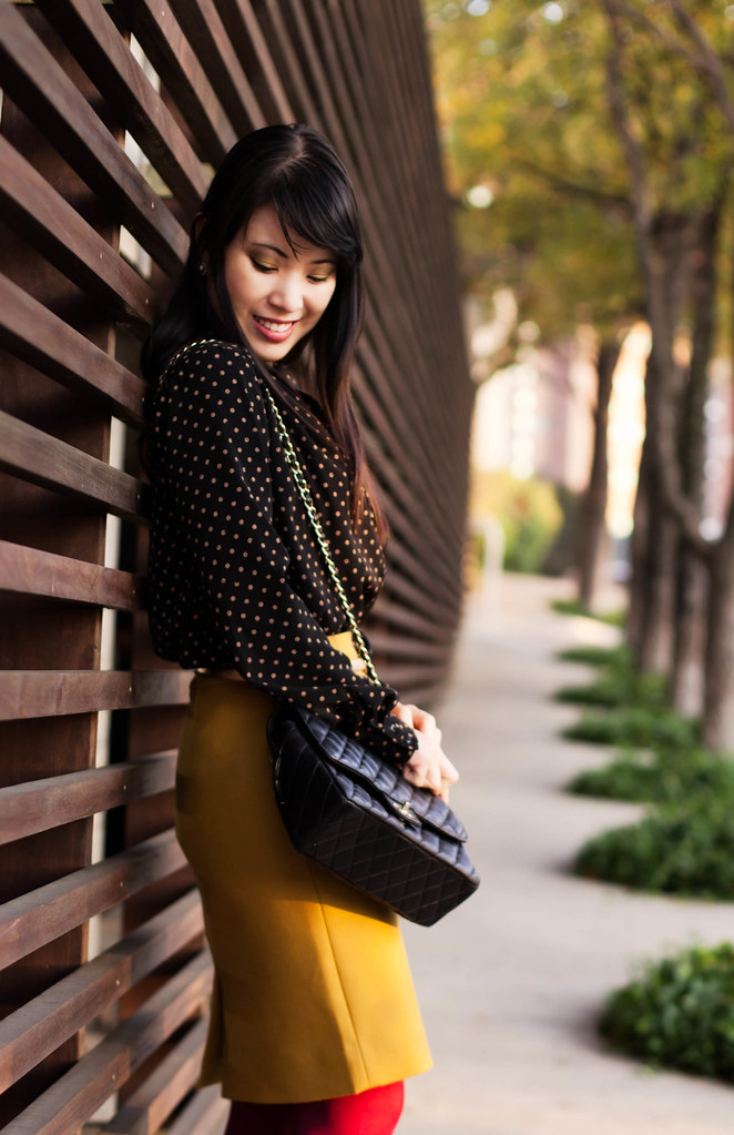 papaya polka-dot shirt, j. crew double serge wool skirt bronzed ochre, ann taylor gold skinny belt, we love colors maroon tights, bakers wild pair karen tan suede pumps, chanel quilted classic m/l flap purse