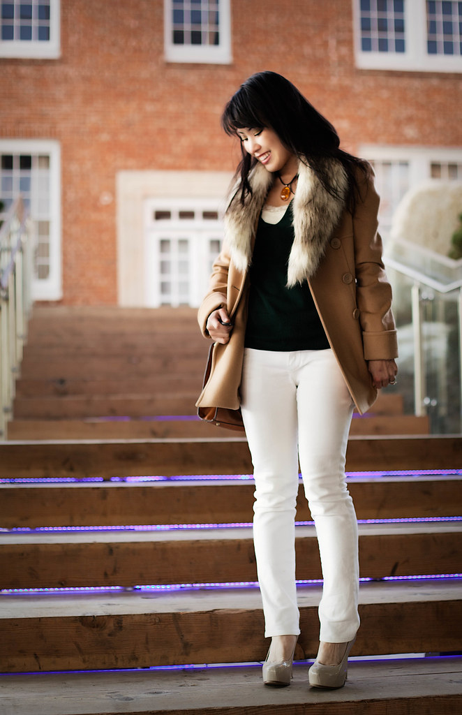 victorias secret double breasted camel wool coat, loft faux fur collar, amber necklace banana republic forest green v-neck sweater, delias morgan white skinny jeans, sole society marco santi dash nude pumps, melie bianco madison purse