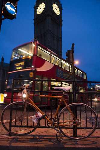 bus and bicycle