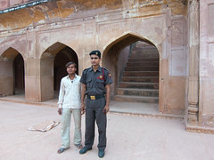 Guard and worker at Safdarjung's Tomb
