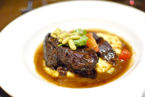 Braised beef cheek polenta & fresh flageolet bean salsa