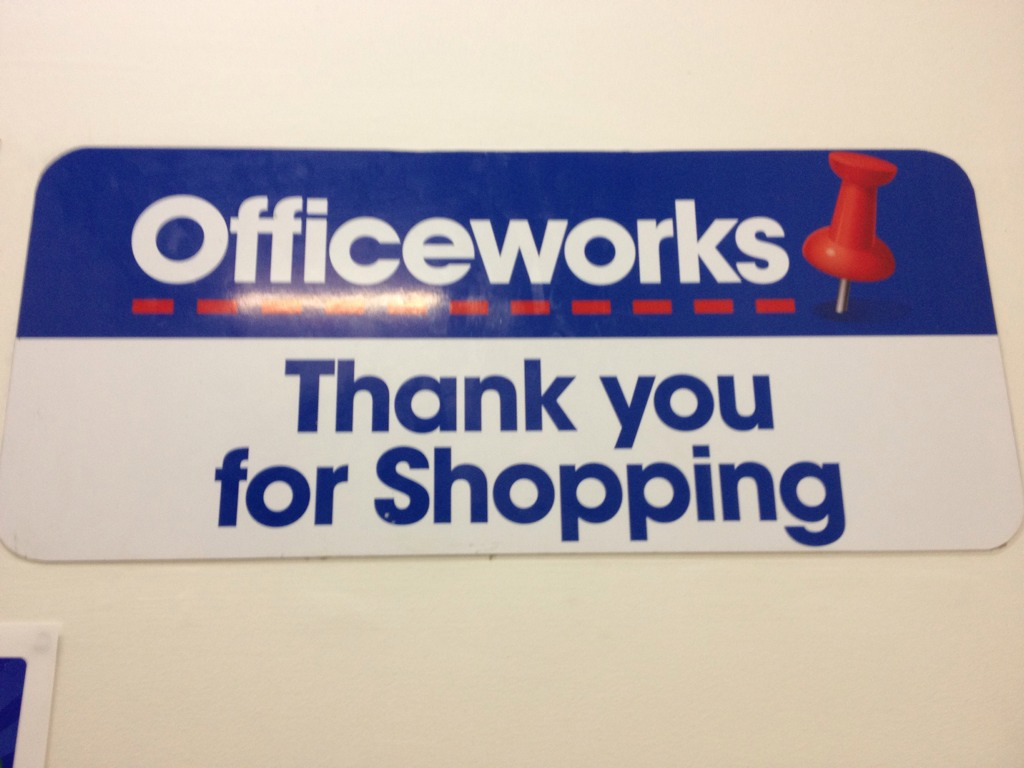 Open-ended consumerism at Officeworks.