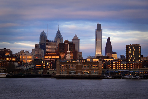 philadelphia skyline sunrise waterfront cloudy