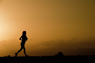 A runner competes in the 29th annual Grand Bara 15K race.