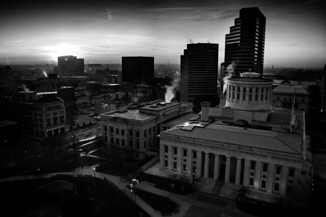 sunrise capital building HDR b+w