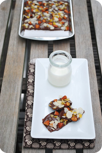 Chocolate Bark with Toasted Almonds and Candied Orange Rind