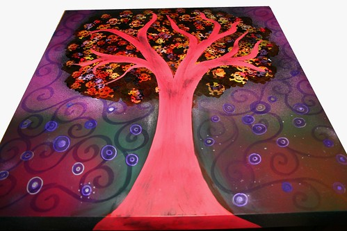 "Skull Tree Table 22""x22"" by Rick Cheadle Art and Designs"
