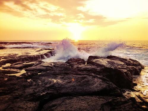 sunset sea beach hawaii onthego wave iphone