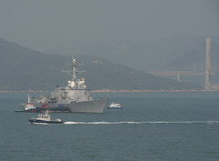HONG KONG (Dec. 27, 2011) Guided-missile destroyer USS Halsey (DDG 97) arrives in Hong Kong for a port visit along with the Carl Vinson Carrier Strike Group. (U.S. Navy photo by Mass Communication Specialist 2nd Class James R. Evans)