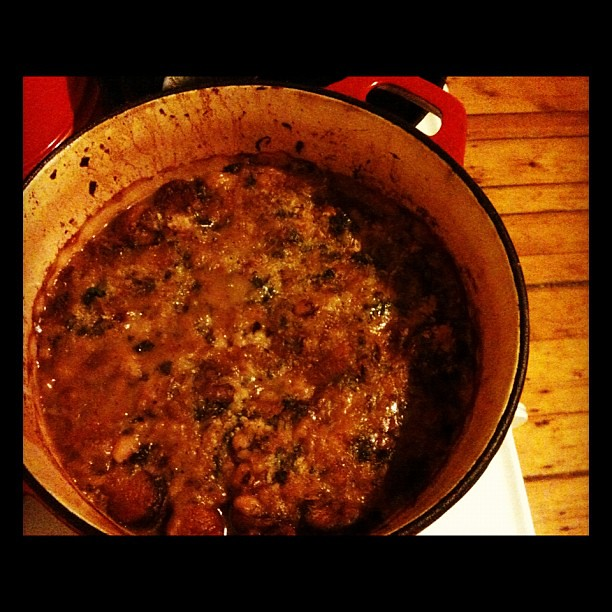 Cassoulet's out of the oven. Dinner is served!